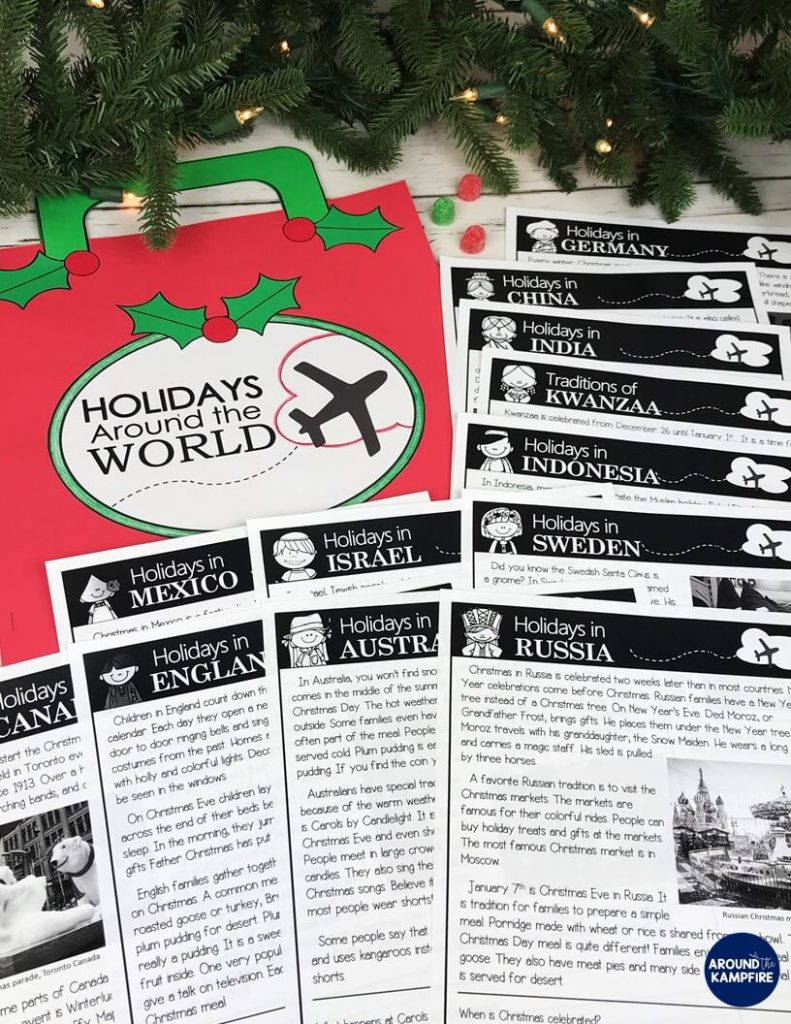 Teaching ideas that make Holidays Around the World magical for your students! Teachers, this post is a must read before you make December lesson plans and Christmas activities. High engagement ideas, reading activities, passages, and crafts for 2nd and 3rd grade to learn about different cultures and traditions at Christmas around the world. Download the FREE activities to add to your holidays unit while you're there!