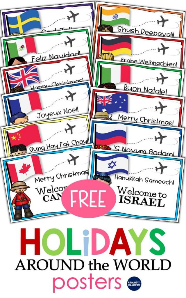 FREE Holidays Around the World posters with lots of teaching ideas and crafts perfect for teachers and homeschool parents to add to your Christmas activities.