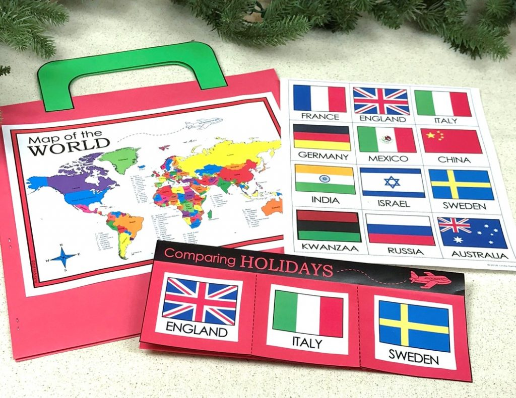 Holidays around the world comparing customs flapbook and suitcase