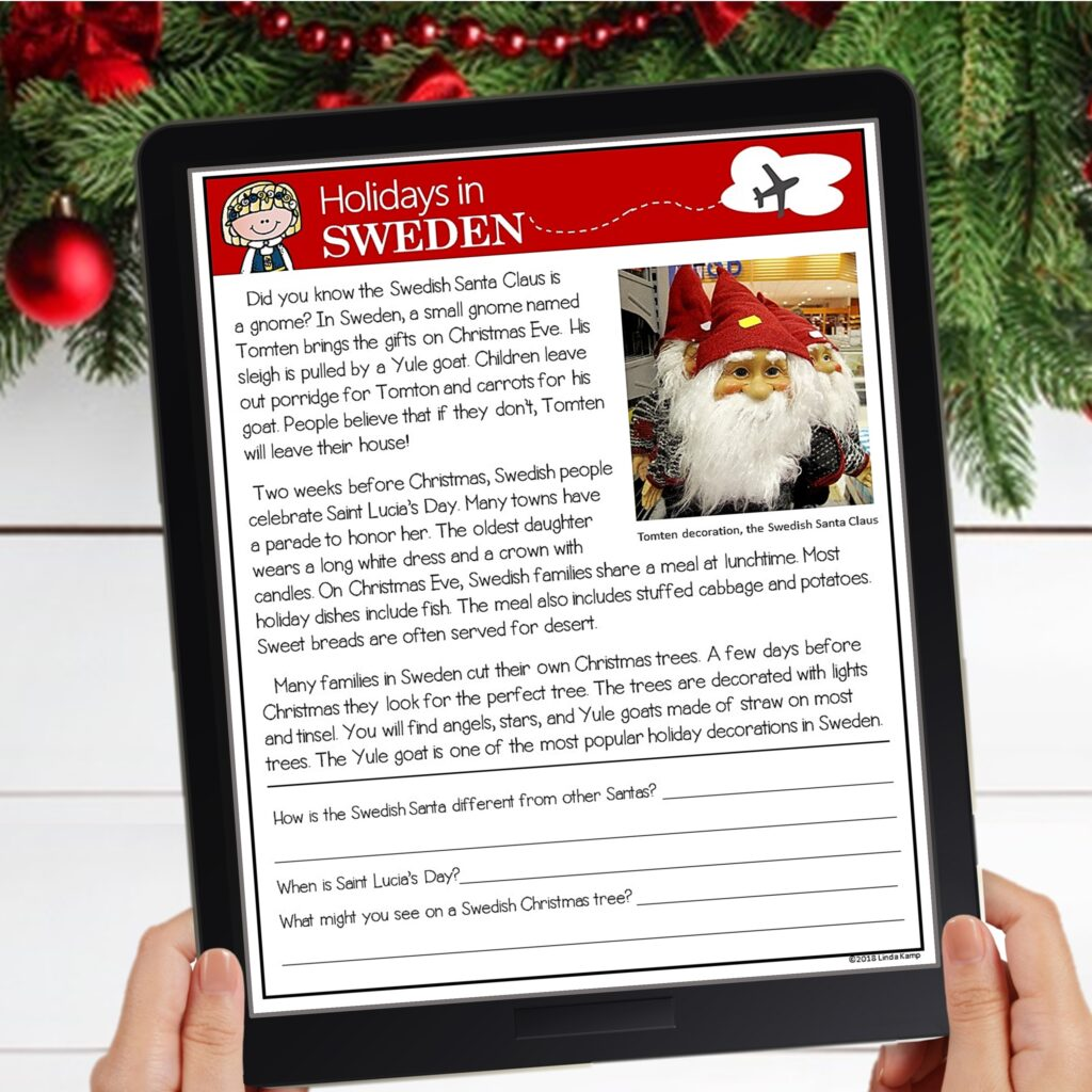 holidays around the world activities digital reading passage for Sweden
