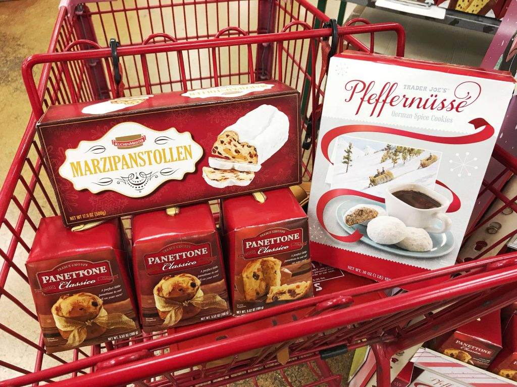 Treats for teaching holidays around the world found at Trader Joe's. German stollen, Italian panettone, and German spice cookies.