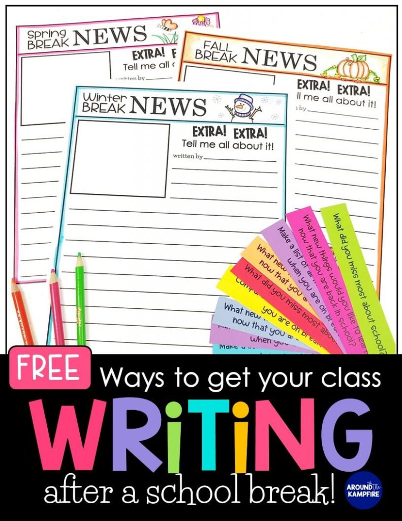 FREE After break writing activities & prompts for students to tell their teacher all about their Fall, Winter, or Spring break in 1st, 2nd, or 3rd grade.