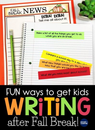 Fun ways to get kids writing after Fall break. Free fall writing activity and journal prompts.