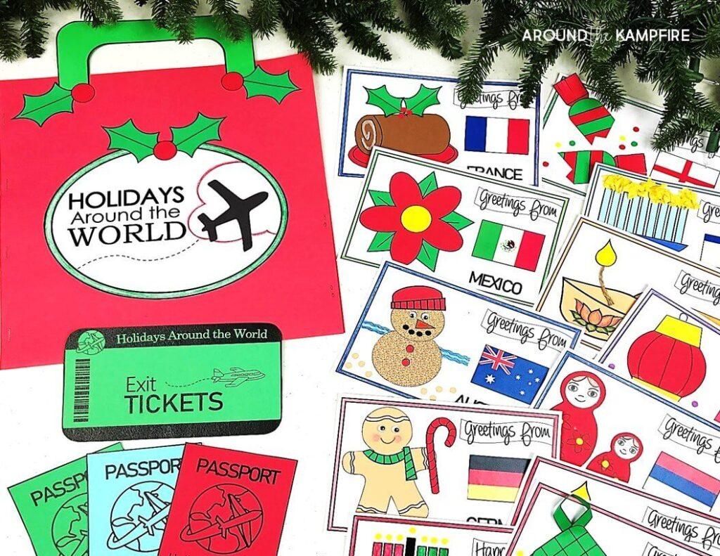 Christmas holidays around the world suitcase, passport and crafts