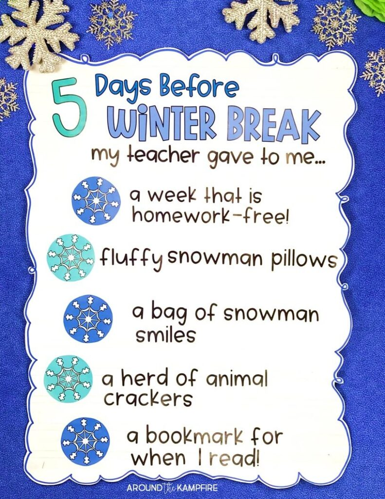 December classroom activities even students that don't celebrate holidays can do. countdown to winter break anchor chart.