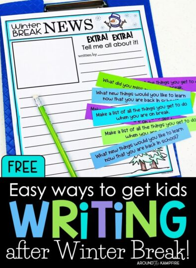 These FREE after Winter Break writing activities are a fun ways to get kids writing all about it when they return from winter break. The download includes publishing pages and journal writing prompts for after Fall, Spring and Winter breaks so you're set for the year!