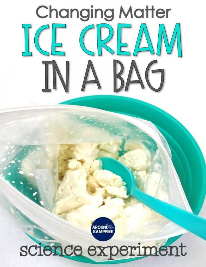 Ice cream in a bag changing matter science experiment for 2nd grade