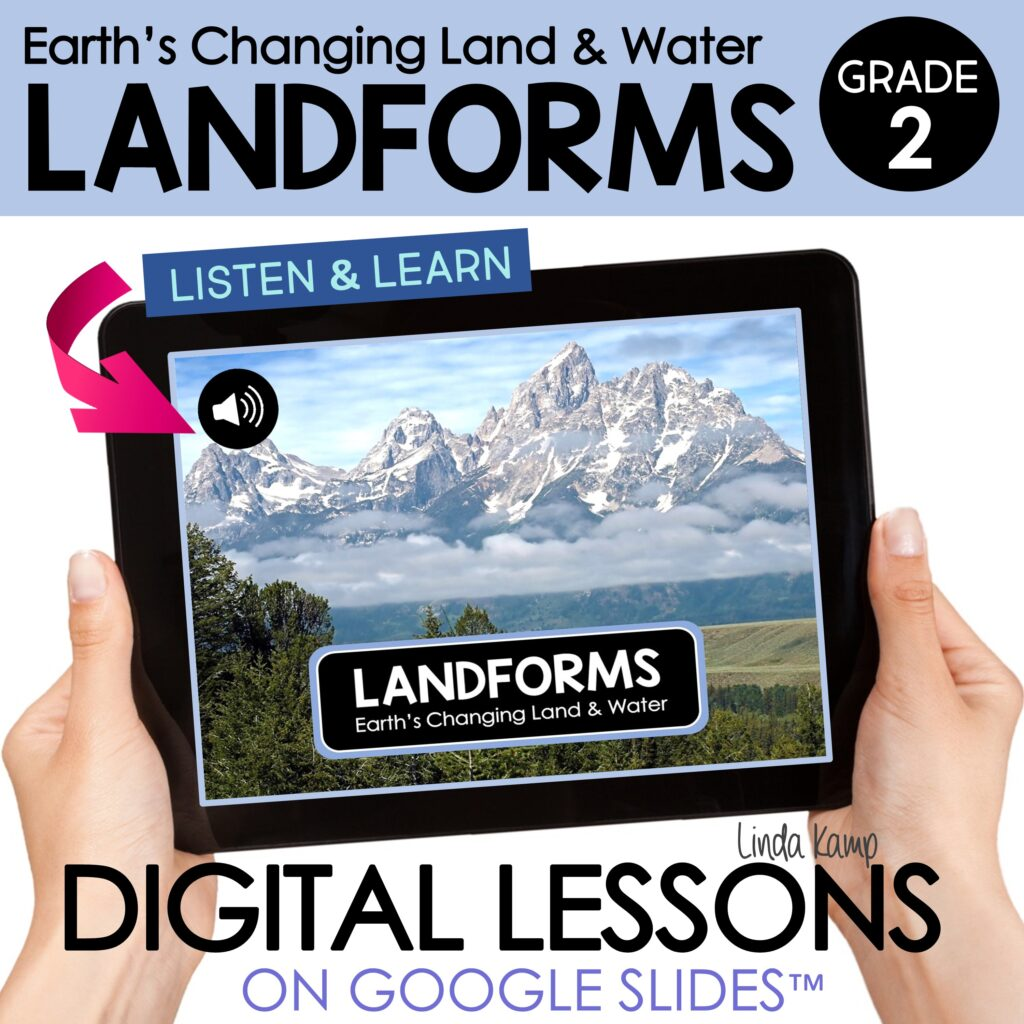 2nd Grade Digital Science Lessons - Landforms Earth Changes book cover