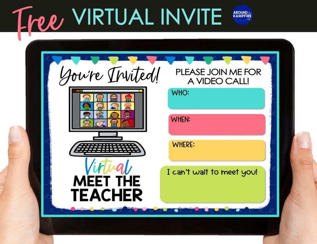 tablet with free virtual meet the teacher invitation
