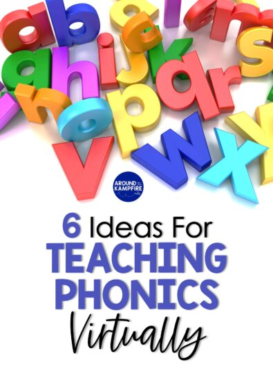 Ideas for teaching phonics virtually article cover with colorful letters