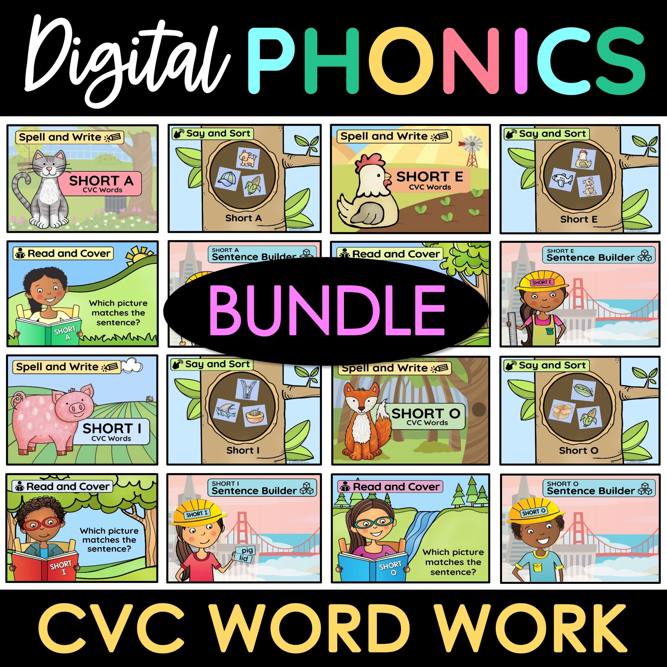 digital phonics games word work CVC cover