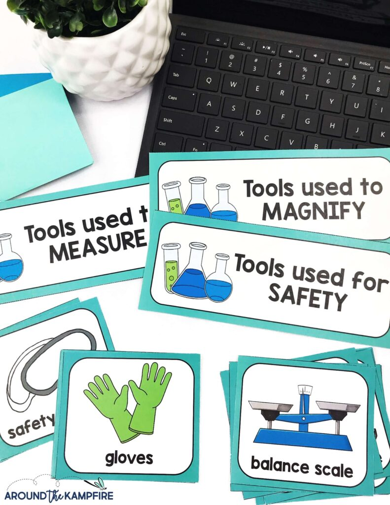 science tools task cards activity for kids
