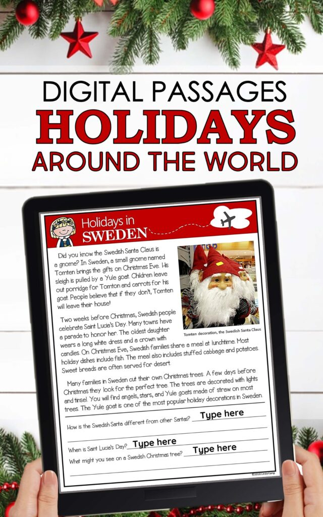 digital holidays around the world activities to do on Zoom reading passage on tablet