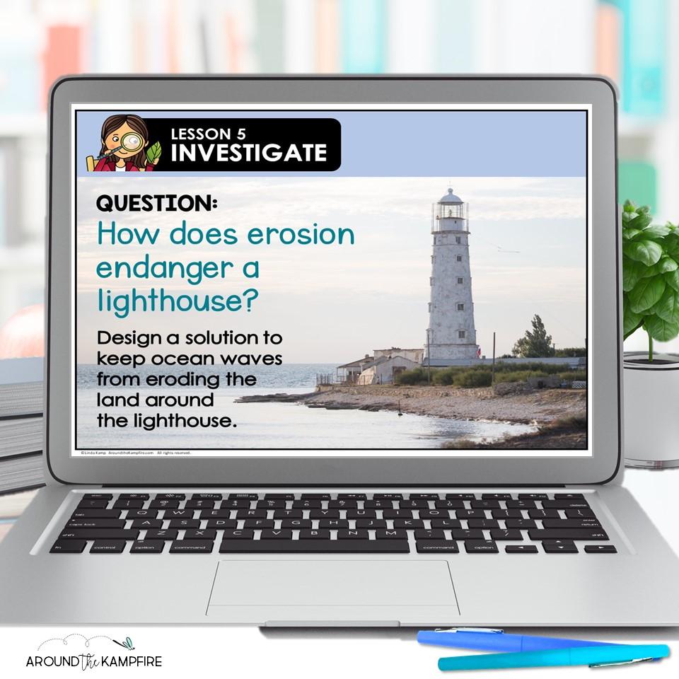 water erosion experiment slide on laptop