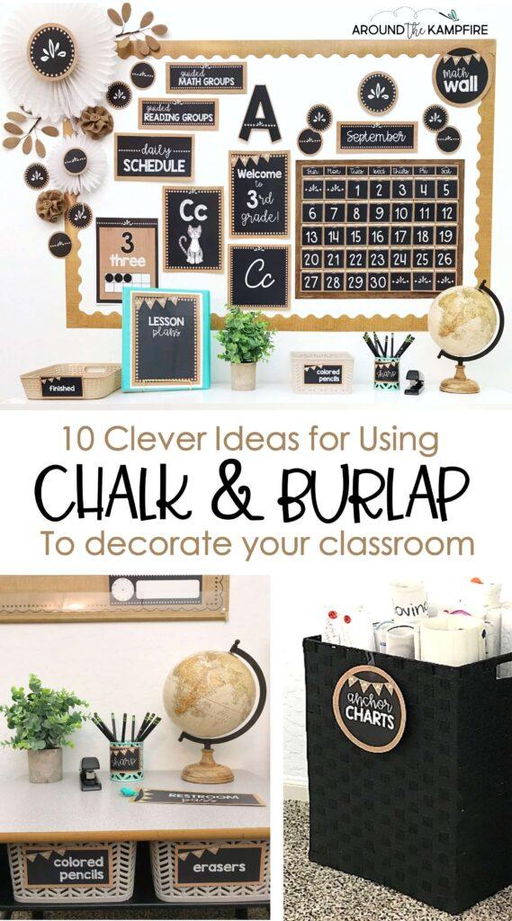 Chalkboard and burlap classroom décor ideas
