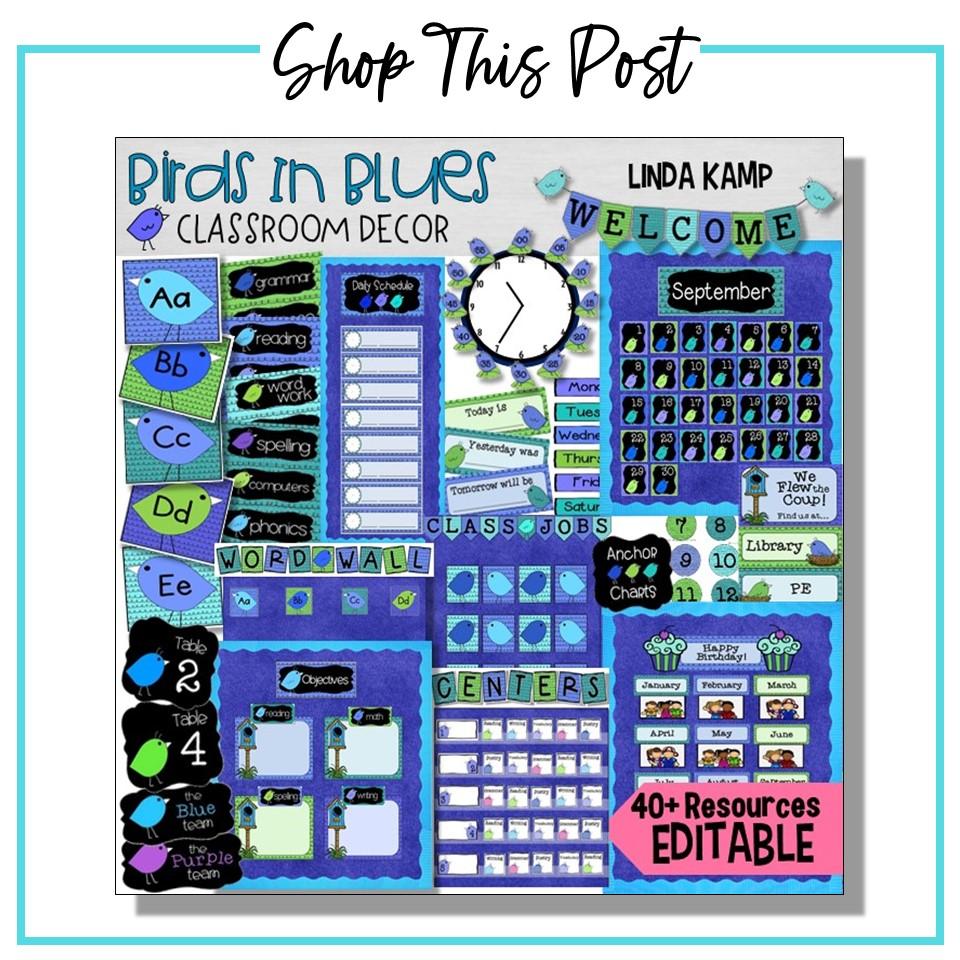 Blue Classroom Decor set