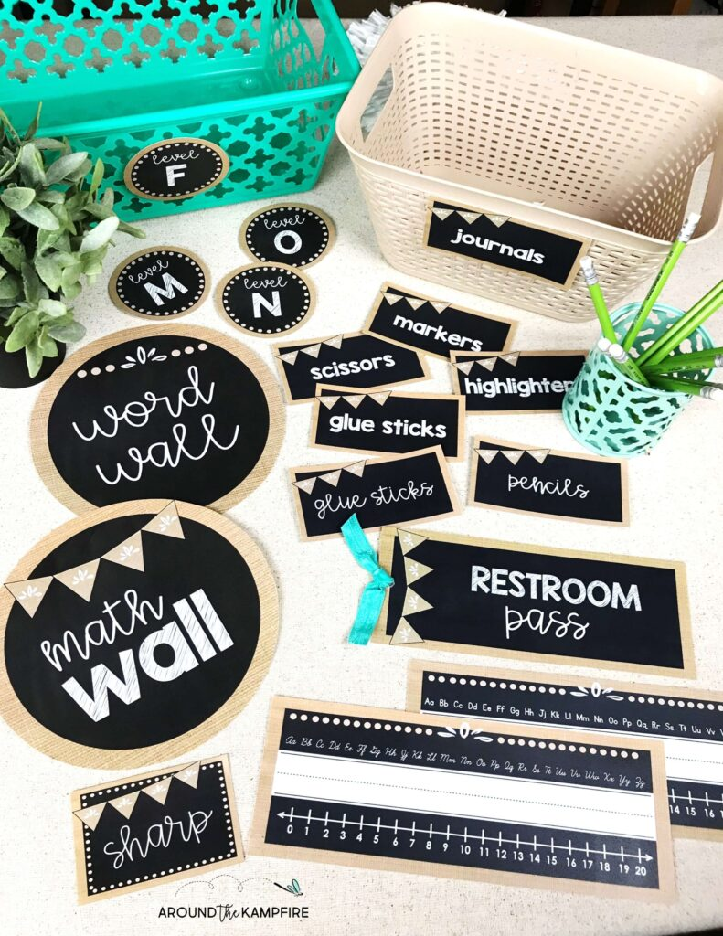 Chalkboard and burlap classroom supply labels