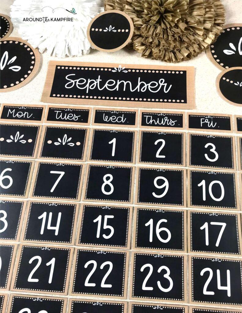 Chalkboard and burlap classroom calendar