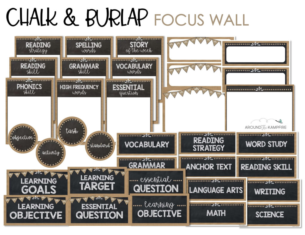 Chalk and burlap theme focus wall templates