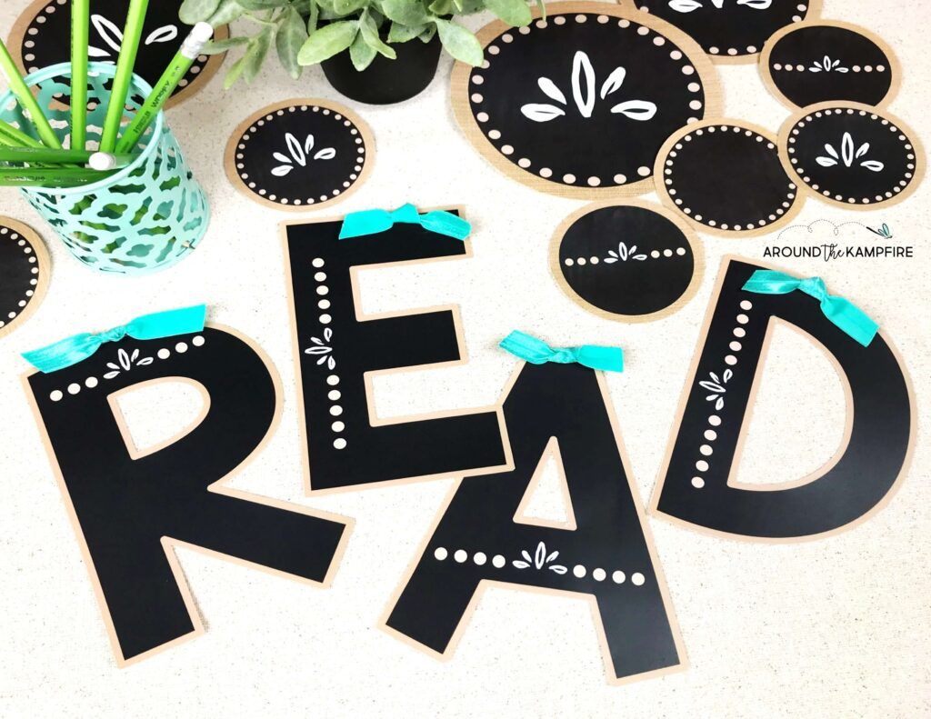 Chalk and burlap bulletin board letters
