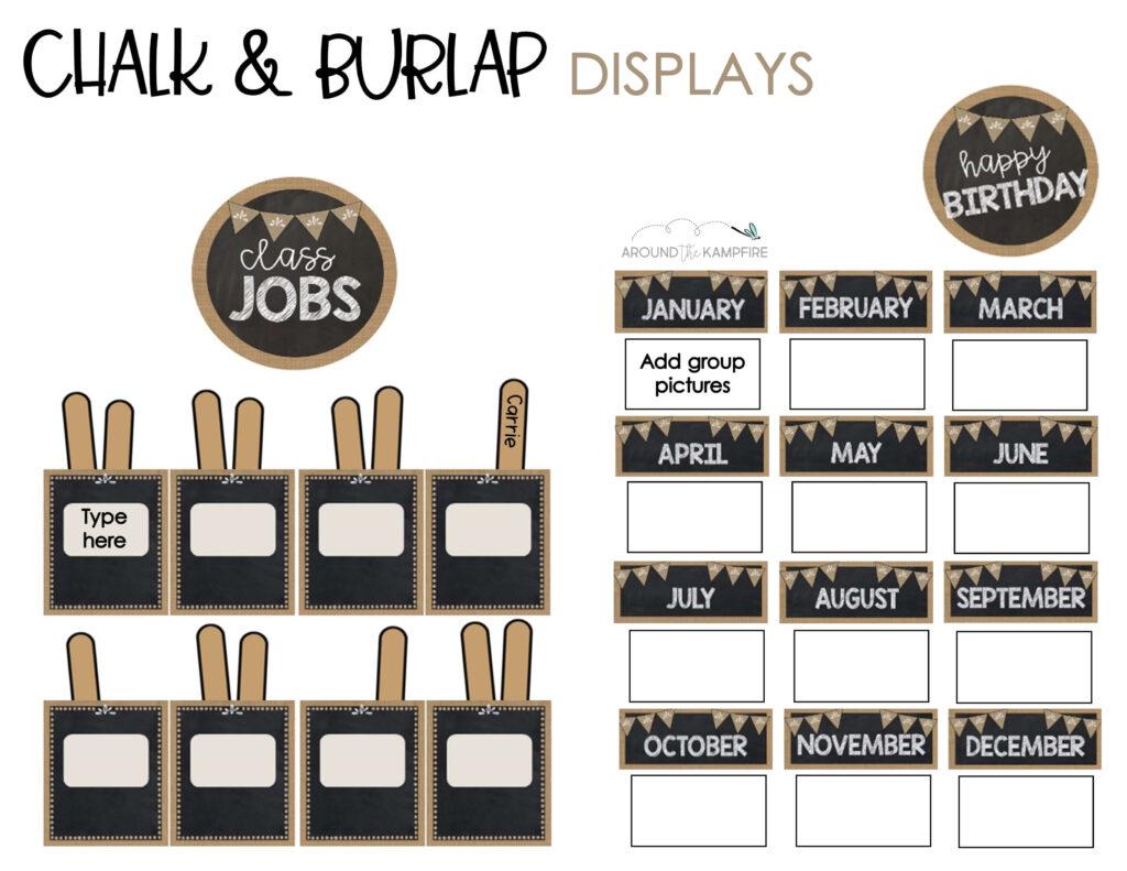 Chalk and burlap classroom jobs and student birthday display