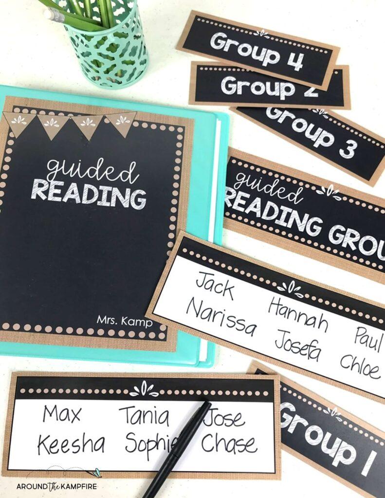Guided reading organization binder