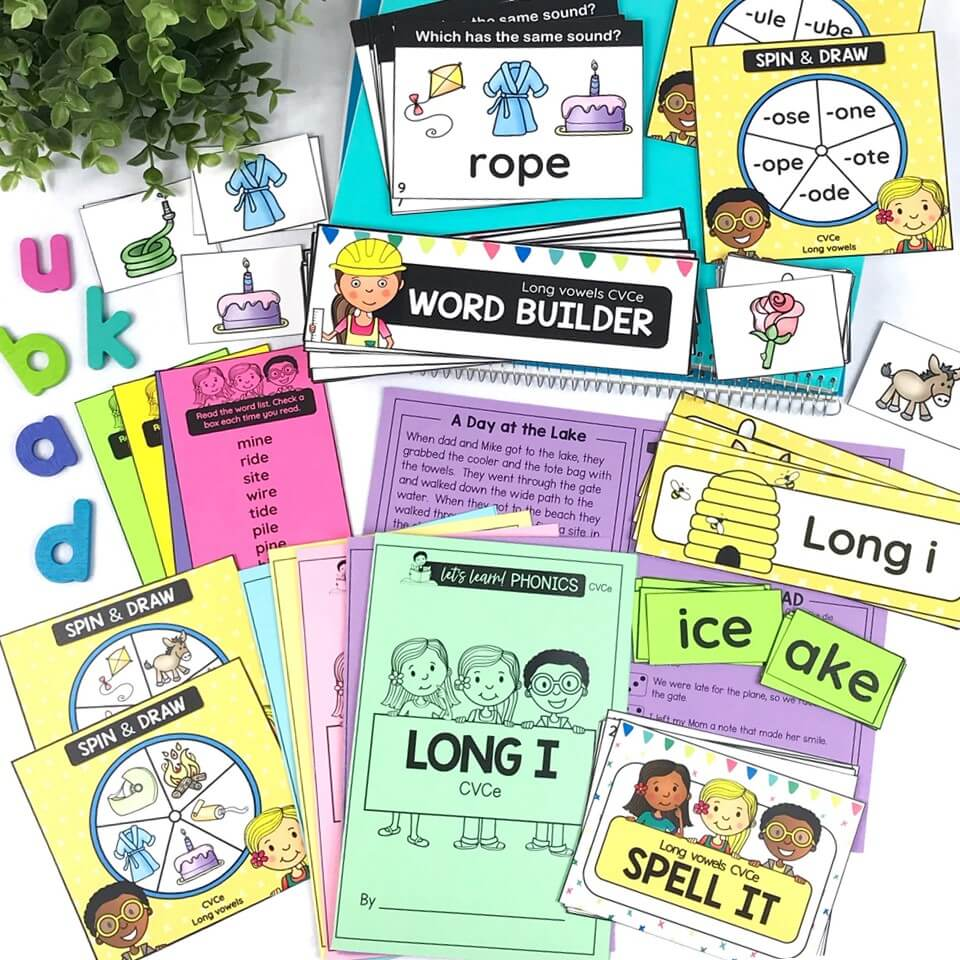 Long vowels phonics centers, games word work activities