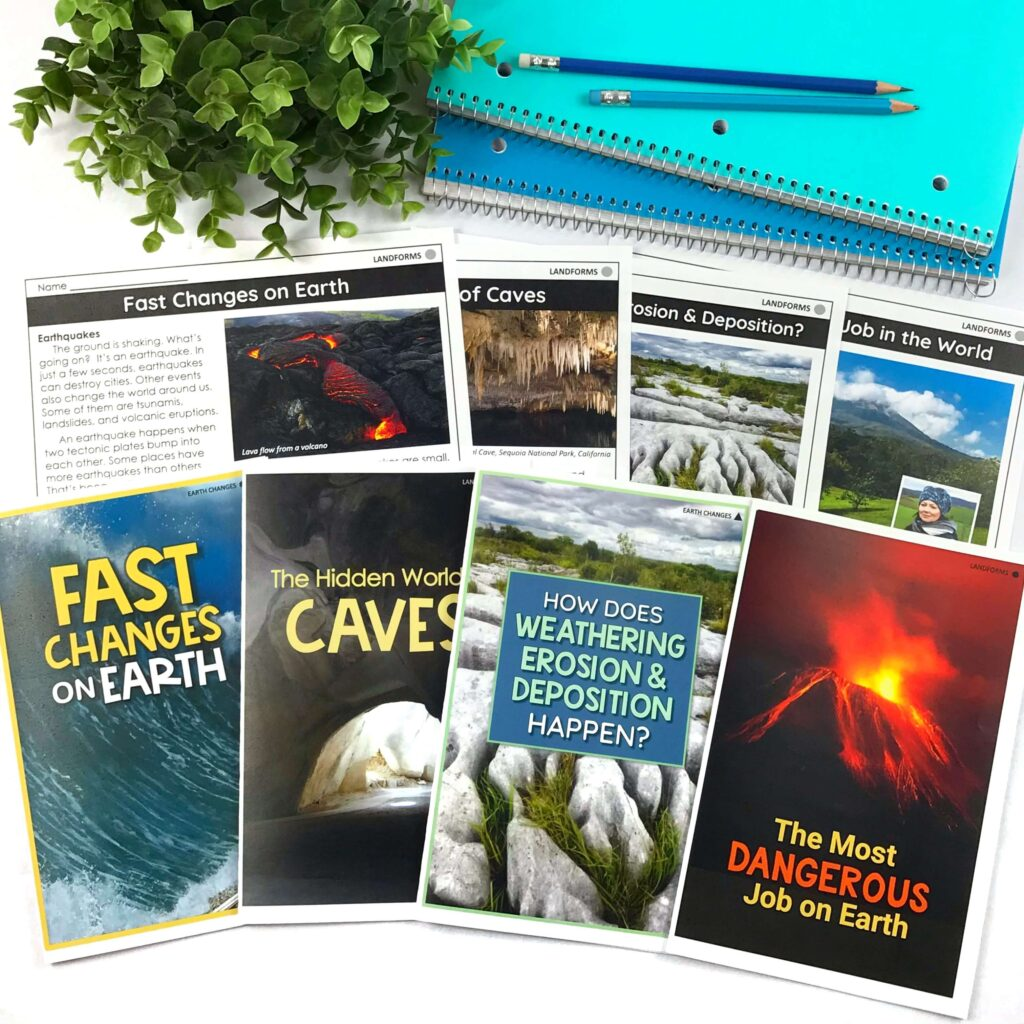 printable science readers about earth changes, caves, weathering and erosion