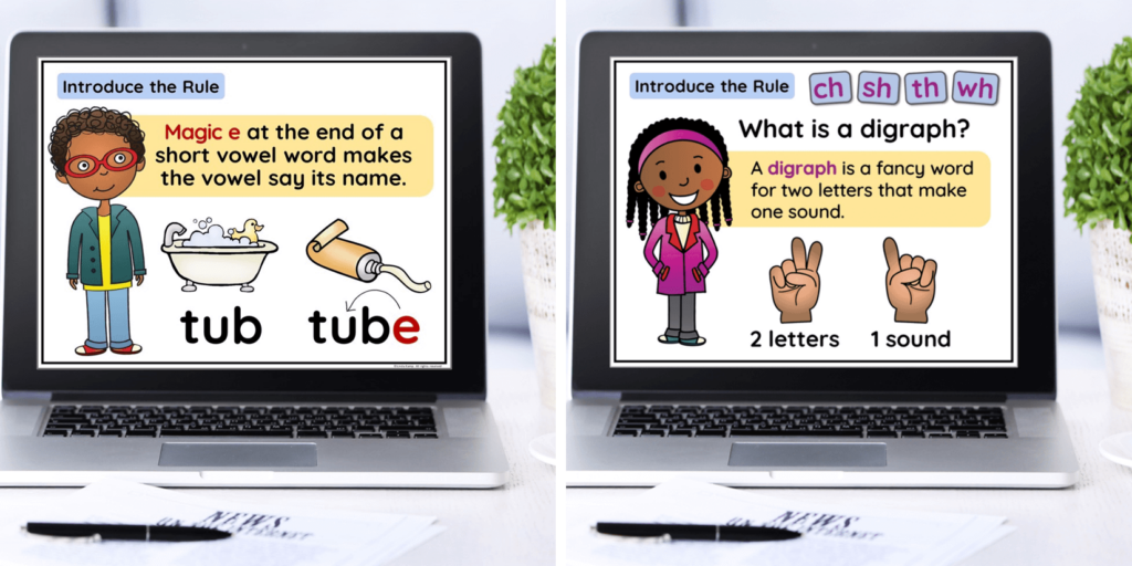 Phonics rules teaching PowerPoints on laptops