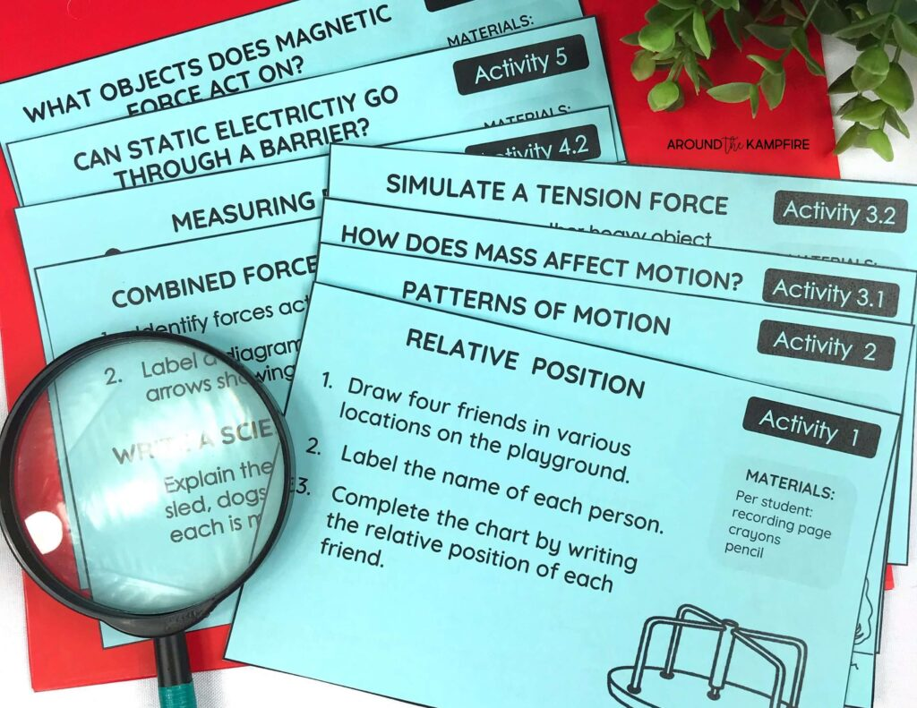 Forces and motion activity cards