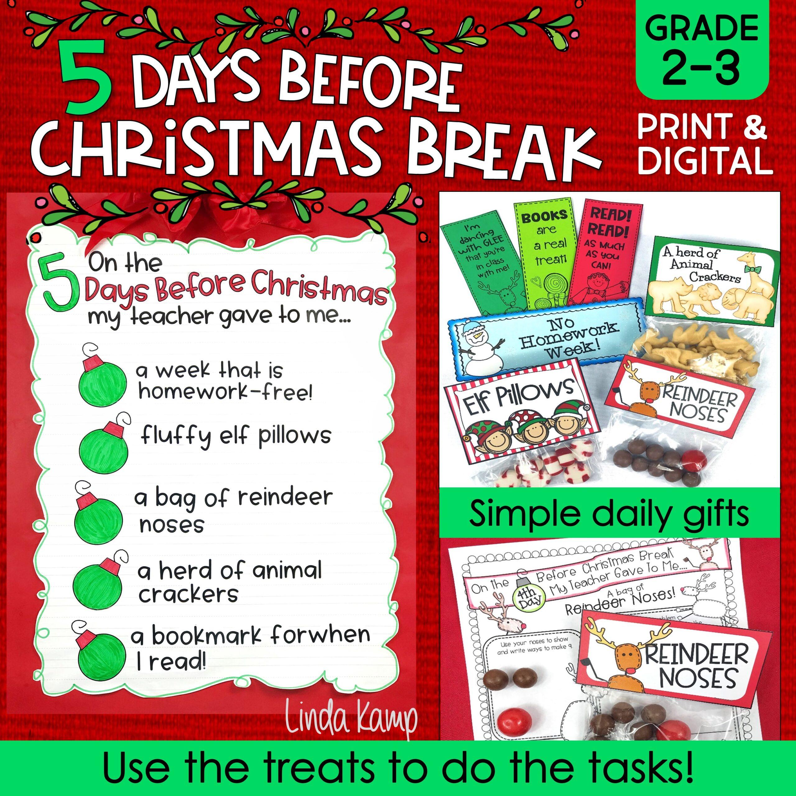 Count down to Christmas Break countdown activities